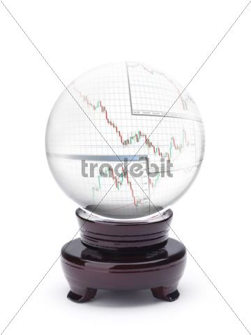 Crystal ball displaying currency echange charts Forex trends