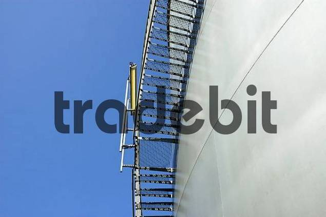 stairs and lamp at a silo