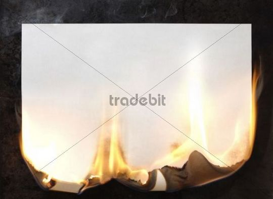 Burning sheet of blank white paper
