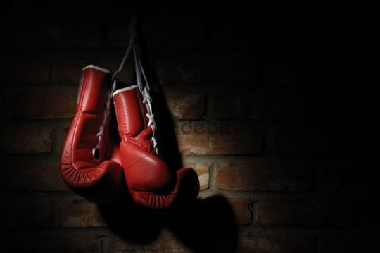 Red boxing gloves hanging on a brick wall download architecture - Gants de boxe vintage ...