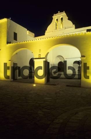 historic church of Sant Antoni de Portmany at night