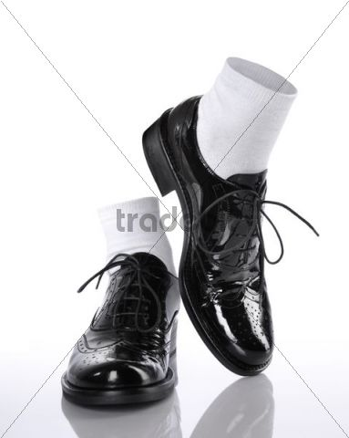 black shiny shoes with white socks pictures