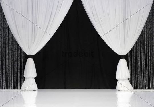 White Stage Curtains In Front Of Black Curtains Download