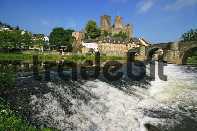view on historical city Runkel at river Lahn, Hesse, Germany,  with castle, weir and arch-bridge, Hesse, Germany