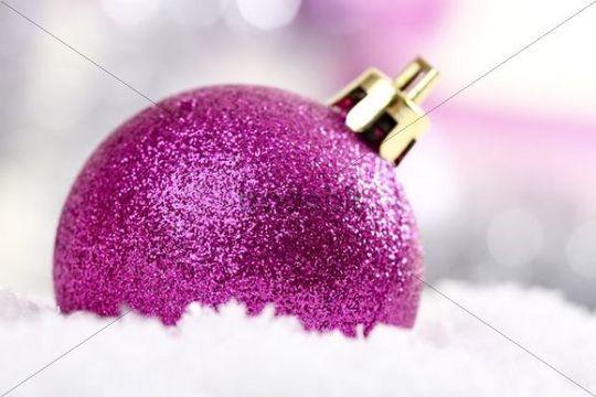 Pink Christmas Tree Ball On Snow