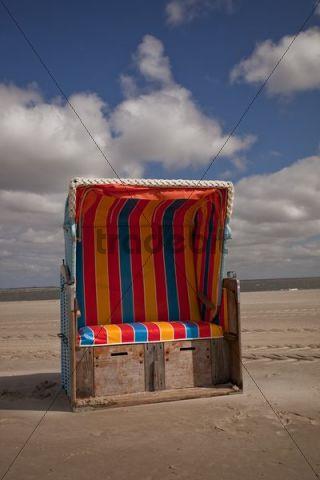 Roofed beach chair, Amrum Island, north beach, Schleswig-Holstein, Germany, Europe