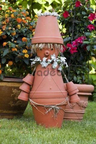Garden decoration, imp made of flower pots