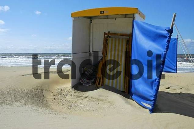 empty beach chair and wind protection Katwijk aan Zee, South Holland, Holland, The Netherlands