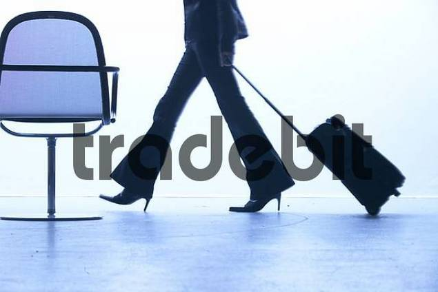 Businesswoman with trolley in a waiting room