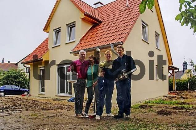 people on house construction site Nuremberg Bavaria Germany