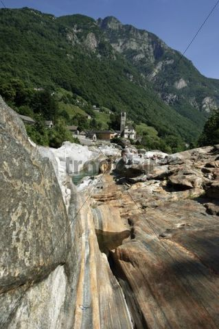 Geological formation in Lavertezzo by Versasca, Valle Verzasca, Canton Ticino, Switzerland, Europe
