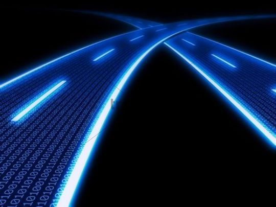 Stylized glowing blue highway with binary code, 3D Illustration