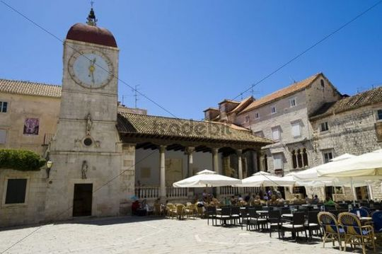 Loggia and the city hall bell tower, Trogir, Northern Dalmatia, Croatia, Europe