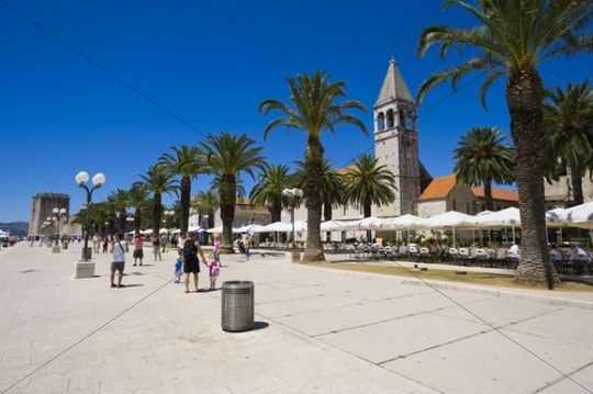 Waterfront promenade of Trogir, on the right bell-tower of the monastery church of St. Dominic, Trogir, Northern Dalmatia, Croatia, Europe