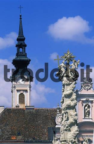 plague statue and Franciscus church St. Pölten Lower Austria