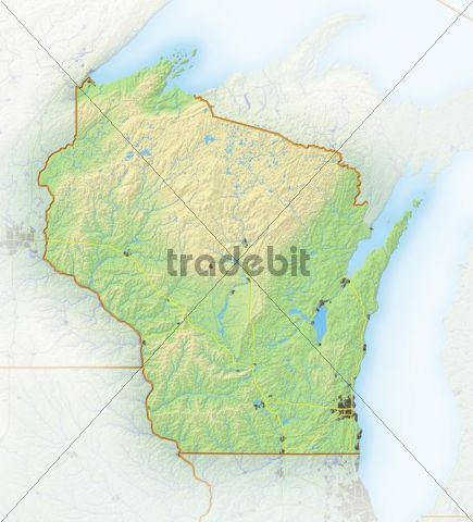 Wisconsin, shaded relief map, USA