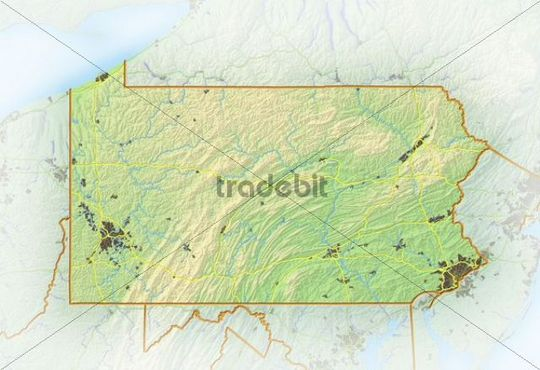 Pennsylvania, shaded relief map, USA