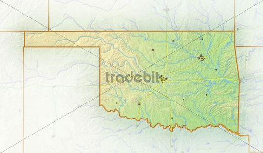 Oklahoma, shaded relief map, USA