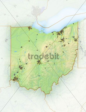 Ohio, shaded relief map, USA