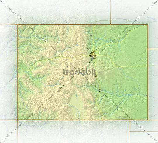 Colorado, shaded relief map, USA
