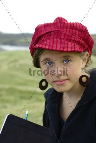 A young paintress sketches, Brittany, France, Europe