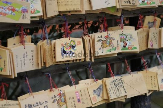 Shinto Ema, small wooden wish plaques, Kyoto, Japan, East Asia, Asia