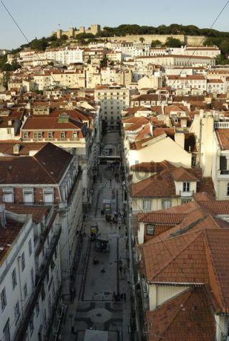 View of the Castelo de Sao Jorge castle, Moorish fortress, and the Baixa district from the Elevador Santa Justa elevator, Lisbon, Portugal, Europe
