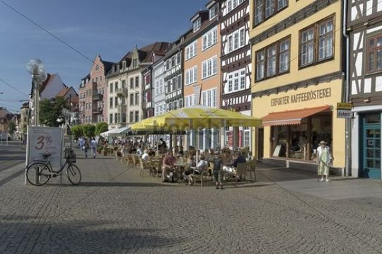 Cafes on Domplatz square, Erfurt, Thuringia, Germany, Europe
