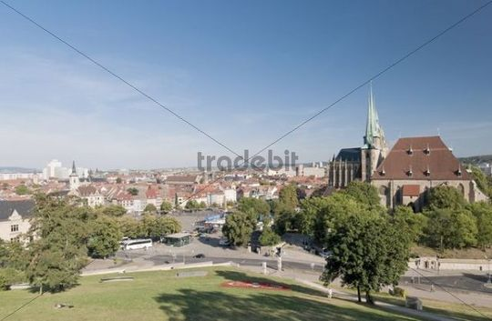View from Petersberg, Erfurt, Thuringia, Germany, Europe