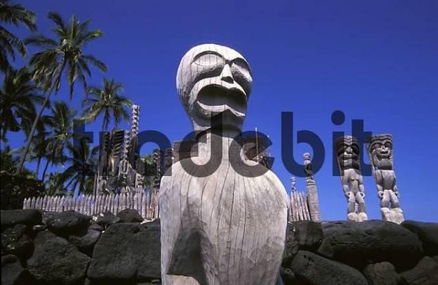 City of Refuge of the aboriginal polynesian inhabitants Puuhonua o Honaunau, Big Island, Hawaii, USA