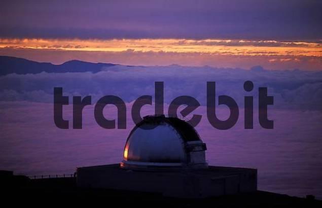 Mauna Kea Observatory at dusk, Big Island, Hawaii, USA