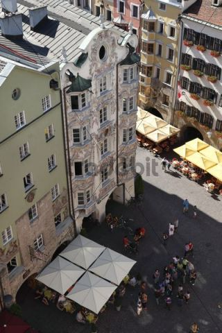 Helblinghaus building, view from City Tower, historic town centre of Innsbruck, Tyrol, Austria, Europe