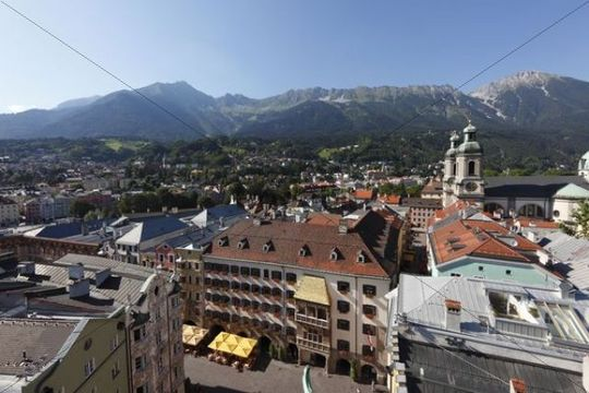Historic city centre of Innsbruck with the Golden Roof and Cathedral, view from City Tower, Tyrol, Austria, Europe