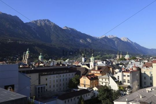 Historic city centre of Innsbruck with the Northern Karwendel Range, view from Town Hall roof terrace, Tyrol, Austria, Europe