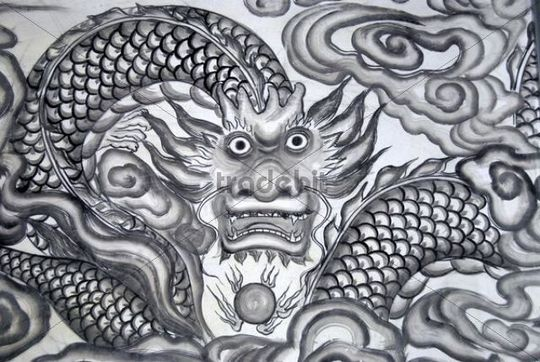 Chinese Buddhism, mural, dragon, temple in Xinji, Yunnan Province, People´s Republic of China, Asia