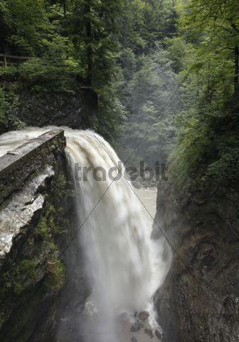 Waterfall in Rappenlochschlucht gorge, Dornbirn, Bregenz Forest, Vorarlberg, Austria, Europe