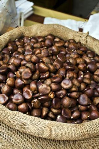 Chestnuts from Partenio, IGP product in a market in Mercogliano, Avellino, Campania, Italy, Europe