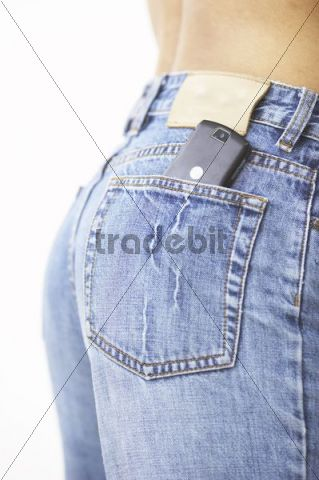 Jeans pocket with a cell phone