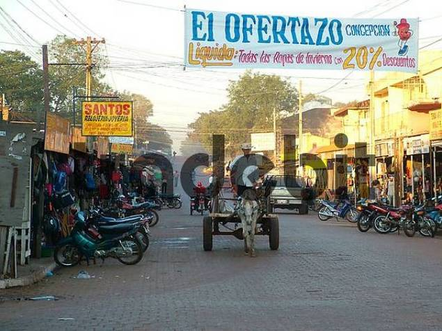 typical way of transport: horse cart at the market of Concecion, Paraguay