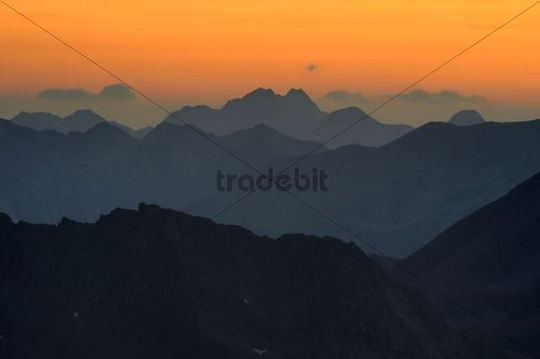 Sunrise with gradation of mountains, Gaschurn, Montafon, Vorarlberg, Austria, Europe