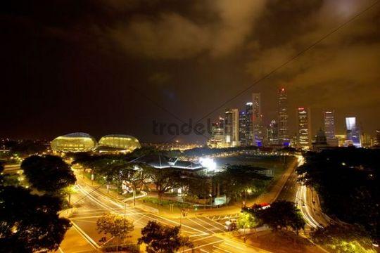 City scene at night, Singapore, Asia