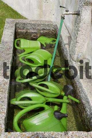 watering cans in a well, St.Peter at Ahrn, South Tyrol, Italy