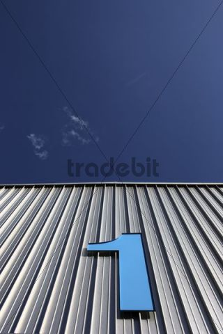 Number 1 on the facade of Exhibition Hall 1 in Ulm on the Danube River, Baden-Wuerttemberg, Germany, Europe