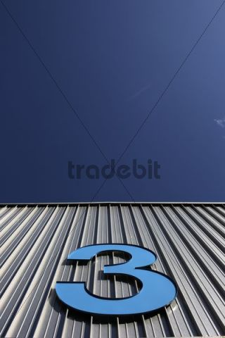 Number 3 on the facade of Exhibition Hall 1 in Ulm on the Danube River, Baden-Wuerttemberg, Germany, Europe
