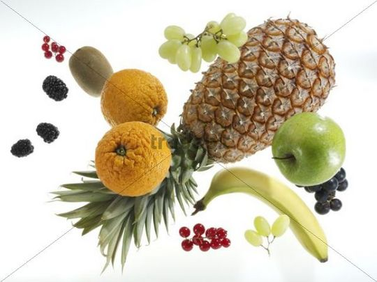Flying fruits, pineapple, oranges, apple, banana, blackberries, kiwi, grapes, currants