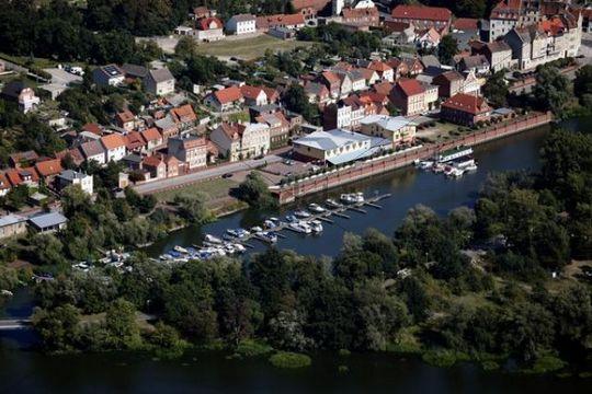 Aerial view, marina Havelberg, Saxony-Anhalt, Germany, Europe