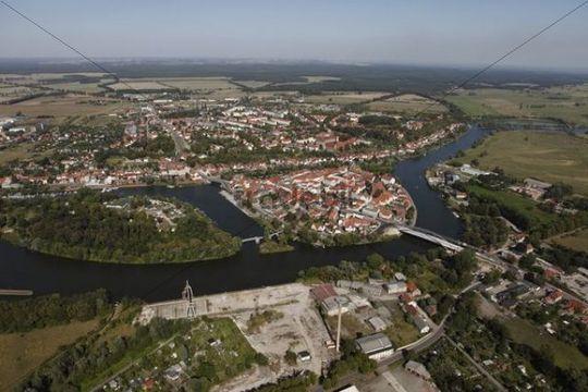 Aerial view, Havelberg, Saxony-Anhalt, Germany, Europe