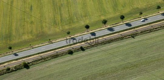 Highway, aerial view, Saxony-Anhalt, Germany, Europe