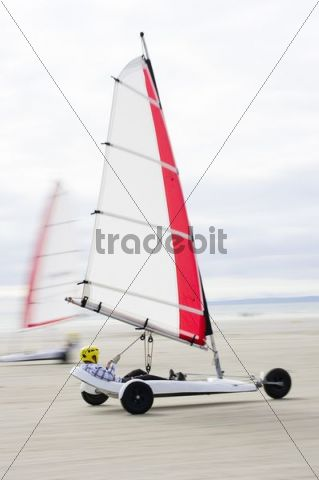 Sand yacht land sailing on the coast of Brittany, France, Europe