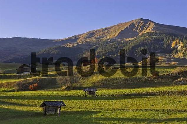 wooden shed and alpine meadows, Fiss, Tyrol, Austria